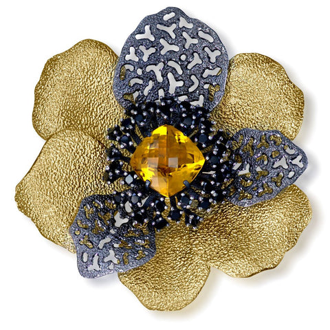 CITRINE AND BLACK SPINEL CORONARIA BROOCH PENDANT IN STERLING SILVER, GOLD AND DARK PLATINUM