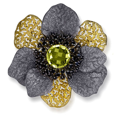 Lemon Citrine Spinel Sterling Silver Gold Rhodium Coronaria Brooch Pendant