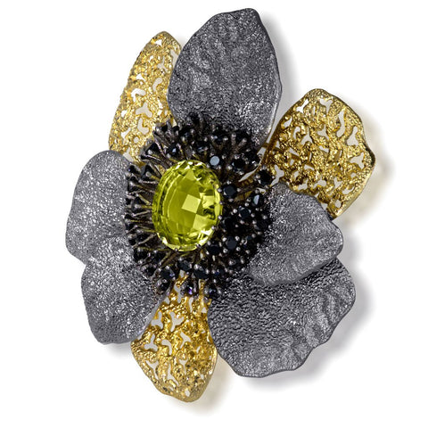 LEMON CITRINE AND BLACK SPINEL CORONARIA BROOCH PENDANT IN STERLING SILVER, GOLD AND DARK PLATINUM