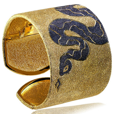 Sterling Silver Gold Platinum Serpent Cuff Bracelet