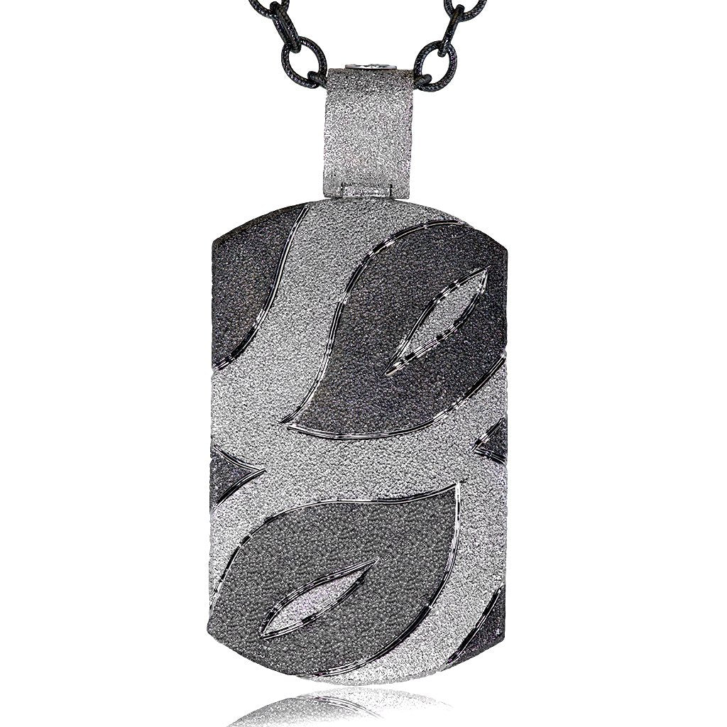 STERLING SILVER LEAF TAG WITH BLACK RHODIUM ON WHITE GOLD PLATING