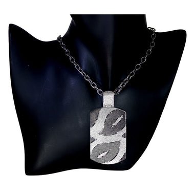 Sterling Silver Platinum Leaf Tag Pendant Necklace On Chain