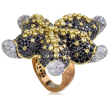Gold Starfish Ring with Black Diamonds and Sapphires