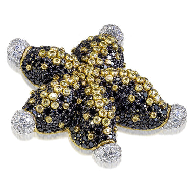 Gold Starfish Brooch with Black Diamonds and Sapphires