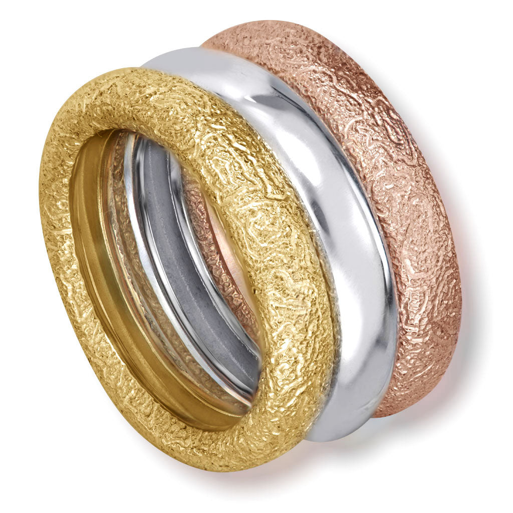 Multi Gold Three Band Stackable Textured Rings