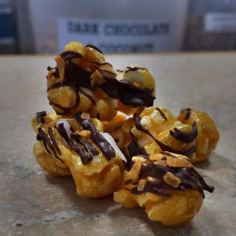 Dark Chocolate & Coconut (Dark Chocolate Drizzle & Coconut over Caramel)