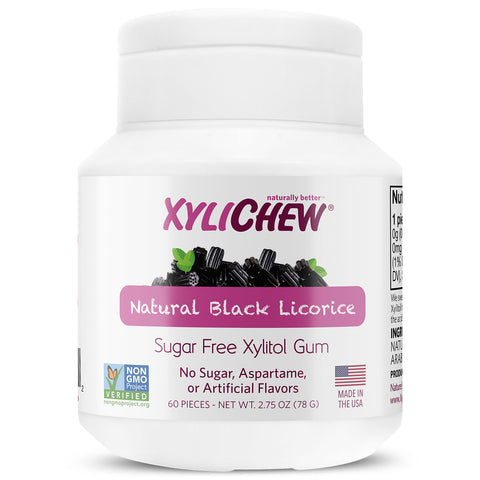 Xylichew Gum - Black Licorice Jar - 60 Pieces