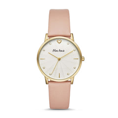 Mon Amie Launch Health Pink Leather Watch