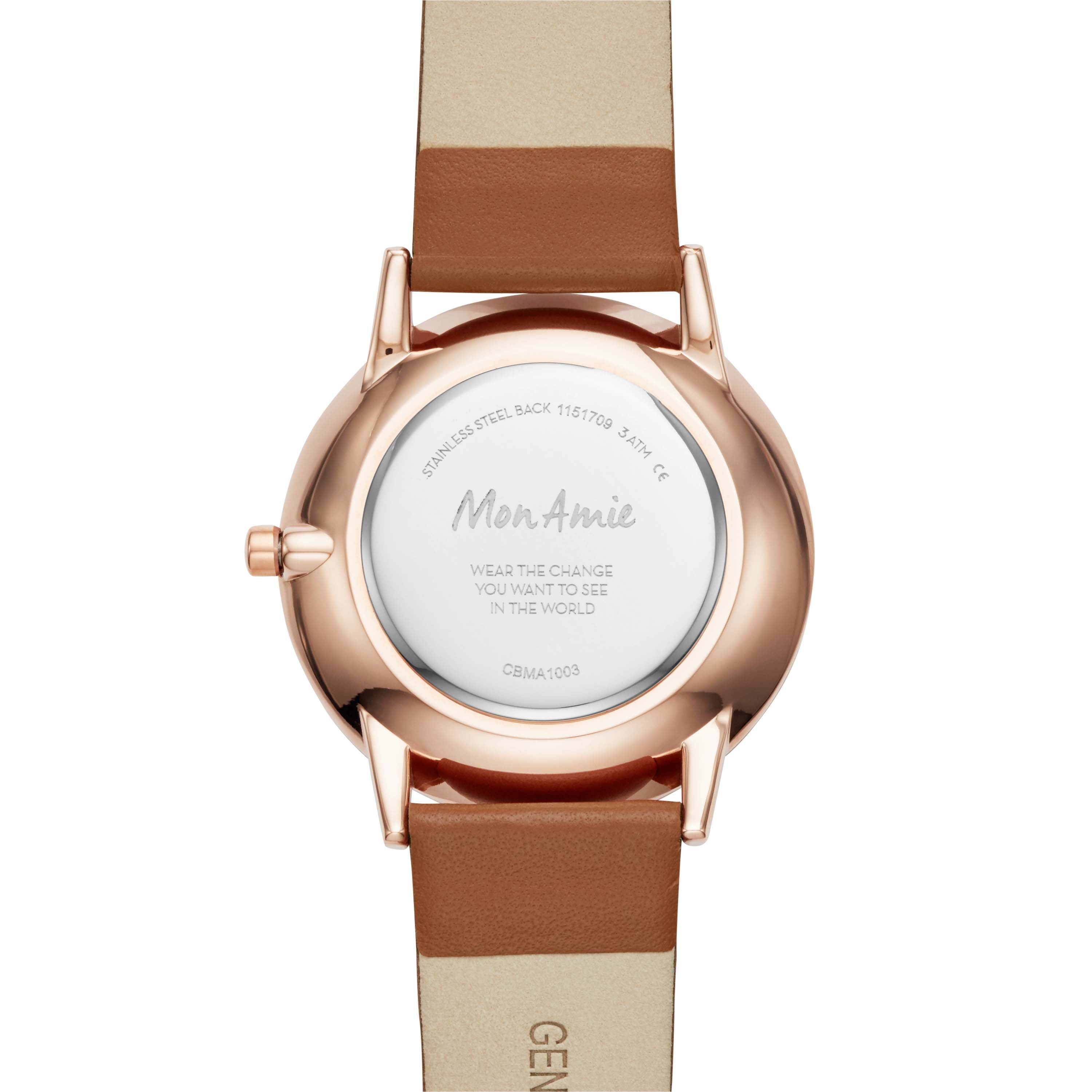 Mon Amie Launch Food Tan Leather Watch