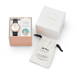 Mon Amie Launch Opportunity Black Leather Watch