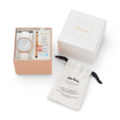 Mon Amie Iconic Health White Leather Watch and Bracelet Set