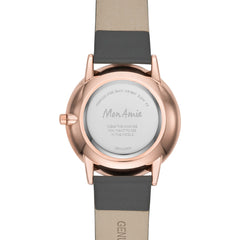 Mon Amie Iconic Opportunity Charcoal Leather Watch and Bracelet Set