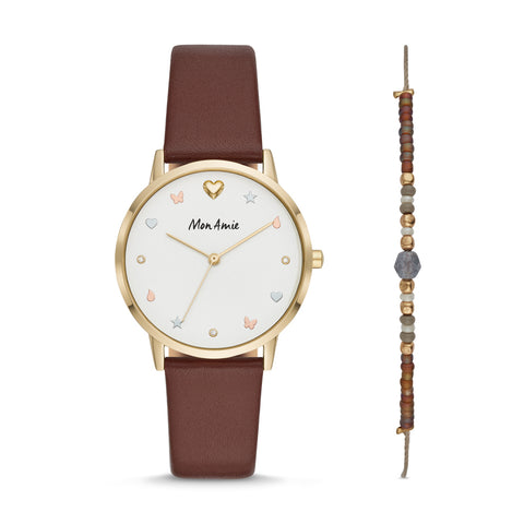 Mon Amie Iconic Health Red Mulberry Leather Watch and Bracelet Set