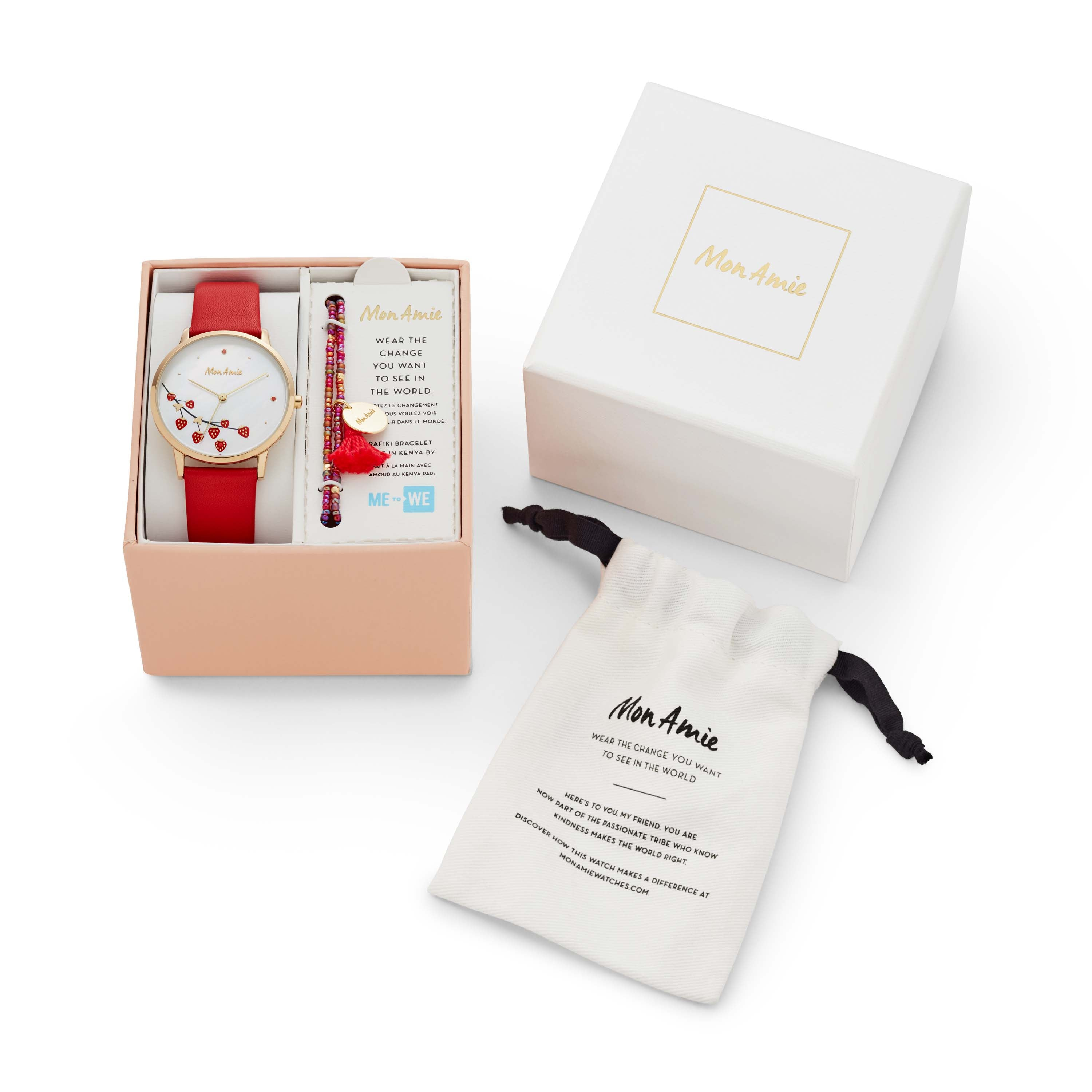 Mon Amie Novelty Food Cherry Leather Watch and Bracelet Set
