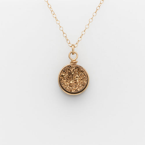 Round Rose Gold Druzy Gold Filled Necklace