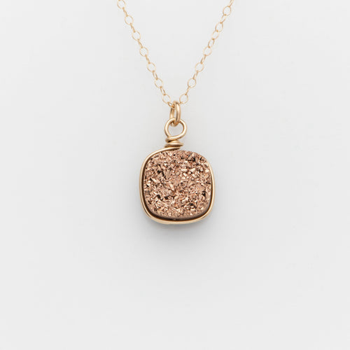 Lg Cushion Rose Gold Druzy Gold Filled Necklace