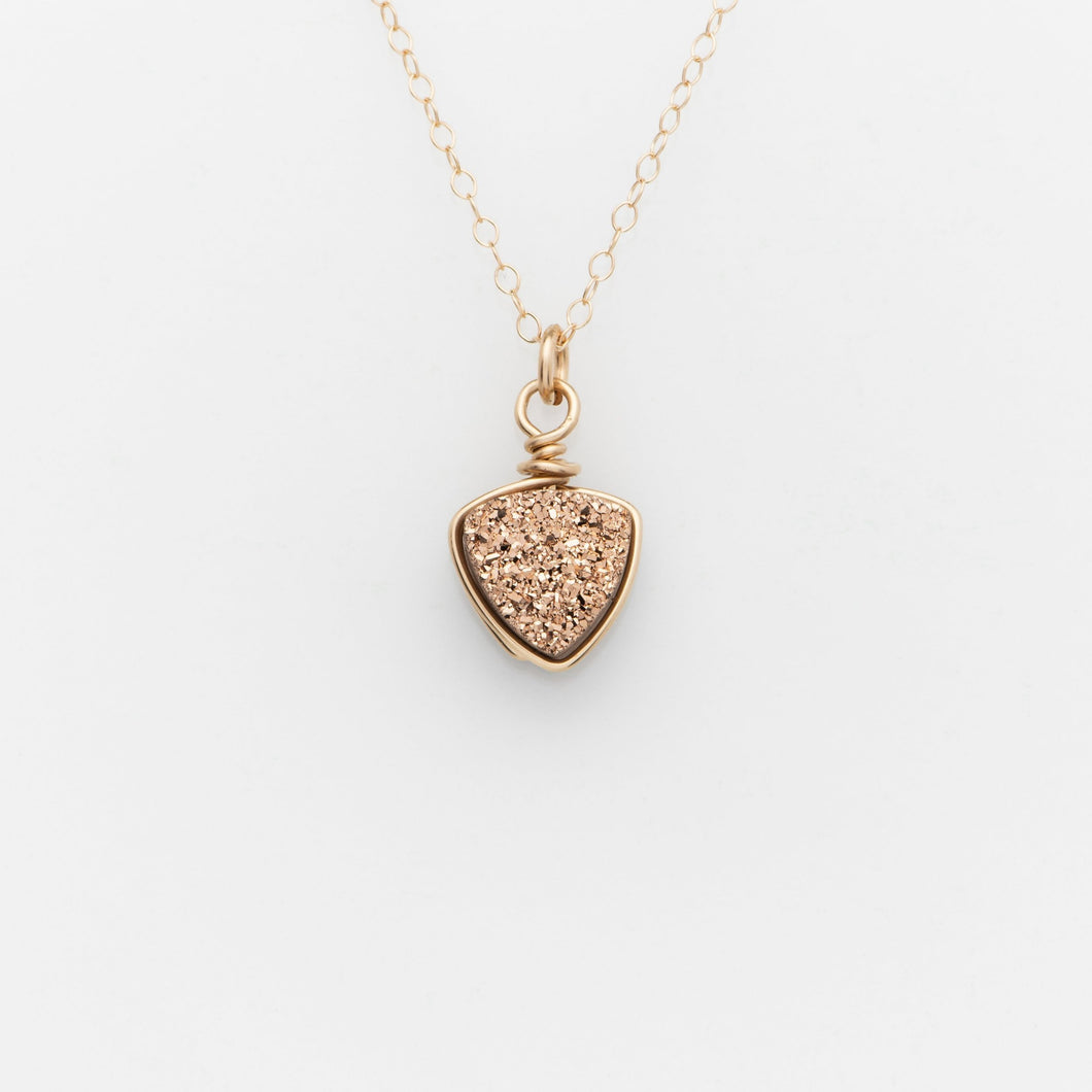 Sm Cushion Rose Gold Druzy Gold Filled Necklace