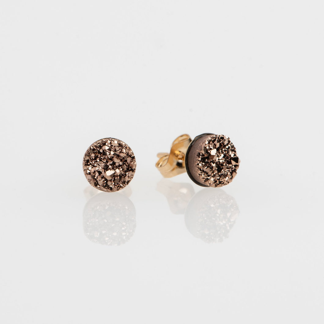 6mm round cut rose gold druzy gold filled stud earrings