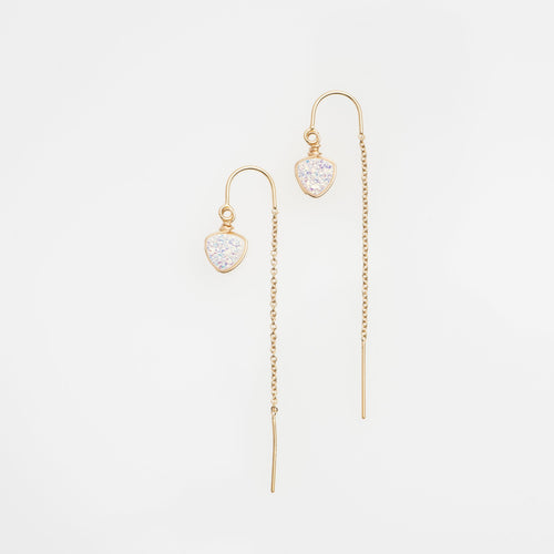 6mm trillion cut white druzy gold filled thread earrings