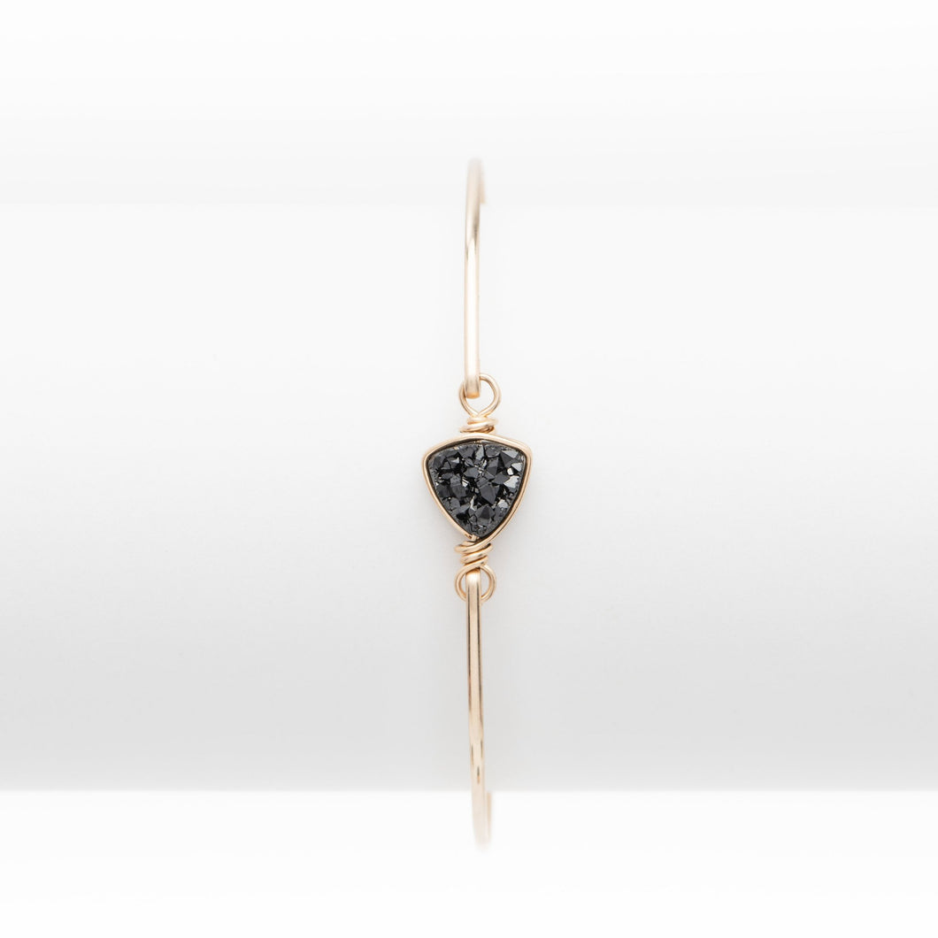 Trillion Midnight Black Druzy Gold Filled Bangle
