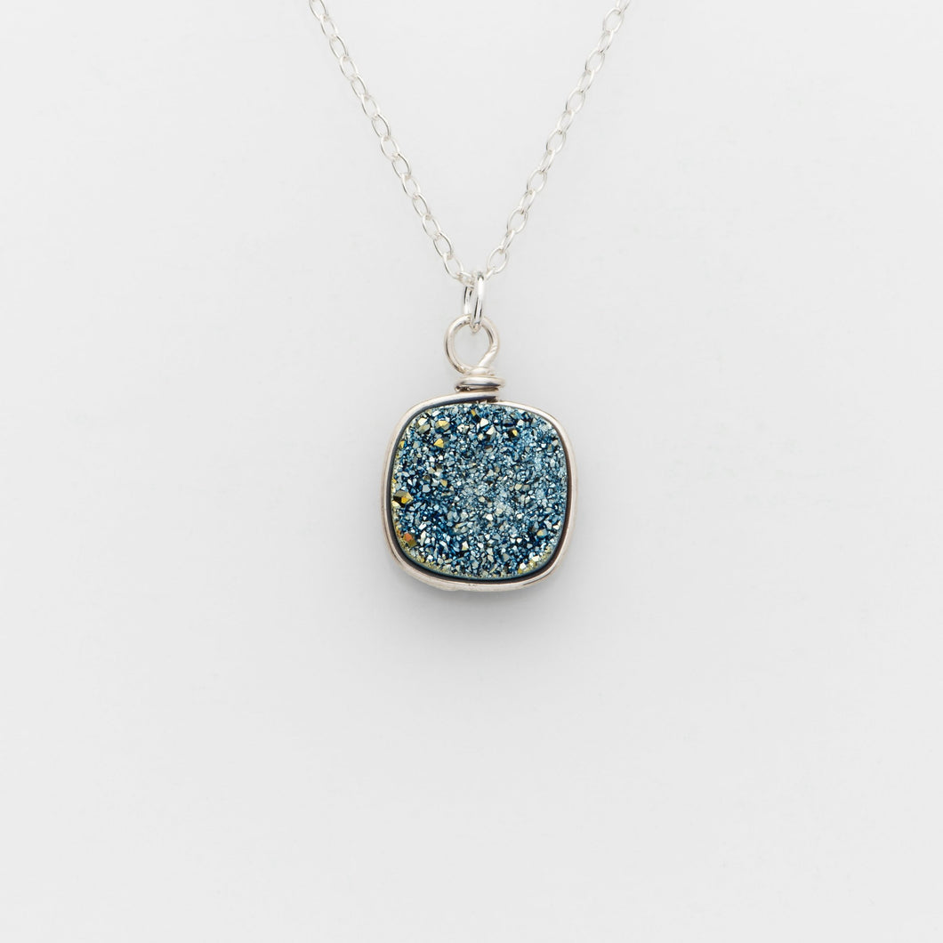 Lg Cushion Ocean Blue Druzy Silver Filled Necklace