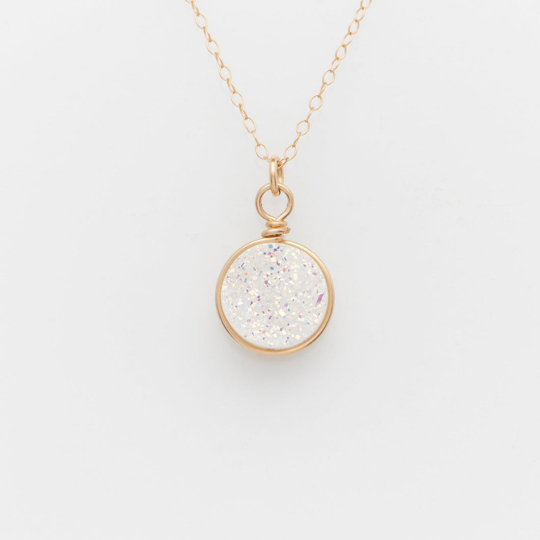 Round Snow White Druzy Gold Filled Necklace