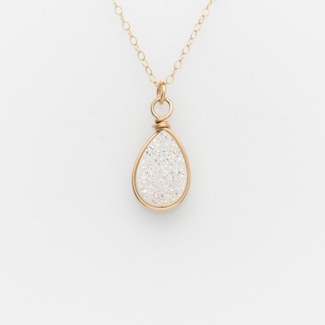 Pear Snow White Druzy Gold Filled Necklace