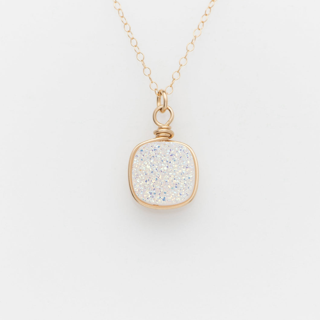 Lg Cushion Snow White Druzy Gold Filled Necklace