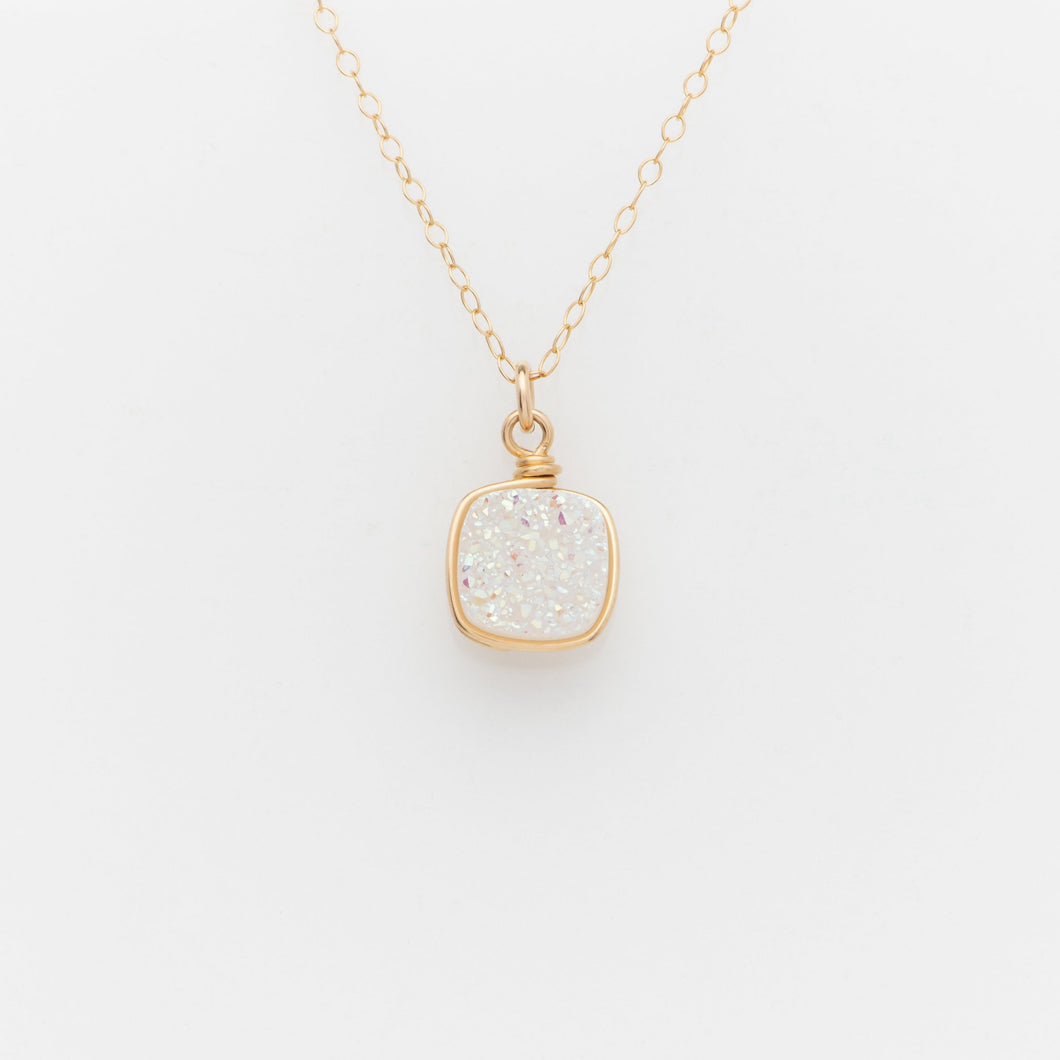 Sm Cushion Snow White Druzy Gold Filled Necklace