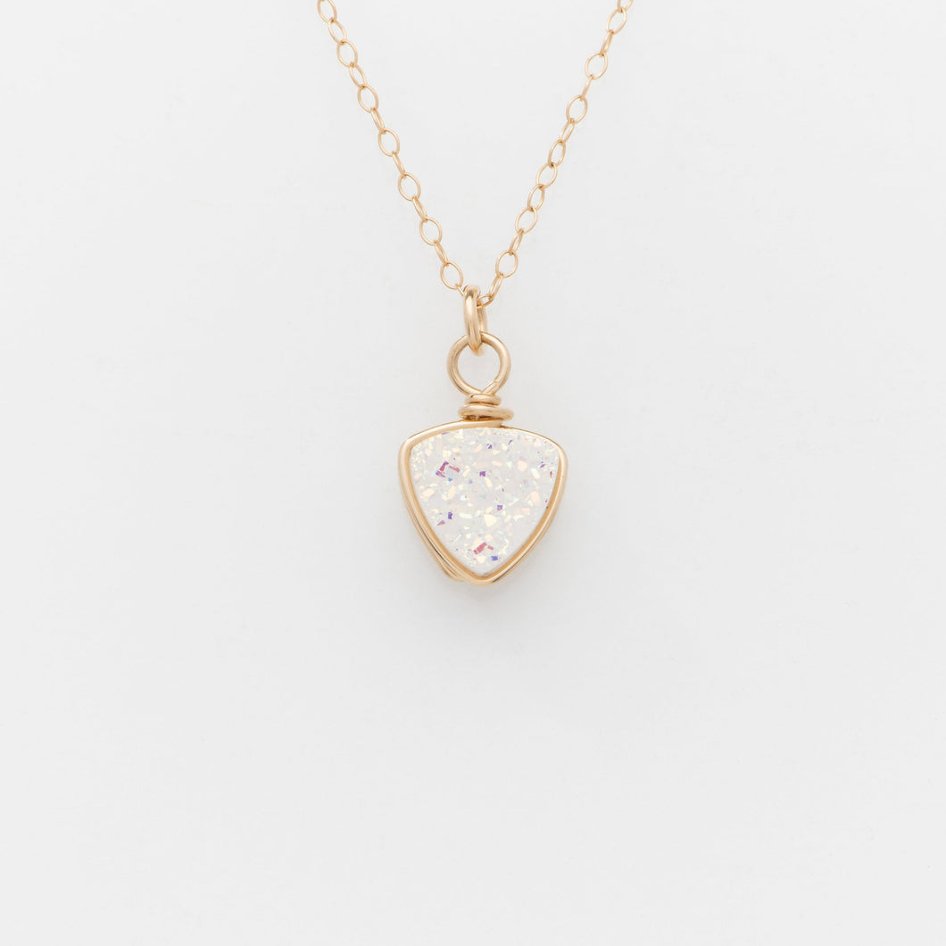 Trillion Snow White Druzy Gold Filled Necklace