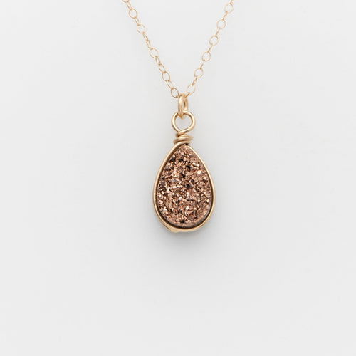 Pear Rose Gold Druzy Gold Filled Necklace