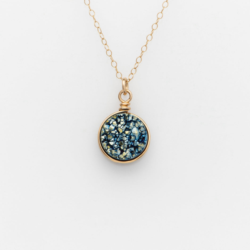 Round Ocean Blue Druzy Gold Filled Necklace