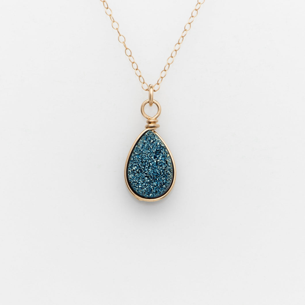 Pear Ocean Blue Druzy Gold Filled Necklace