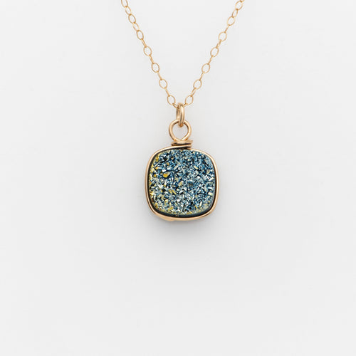 Lg Cushion Ocean Blue Druzy Gold Filled Necklace