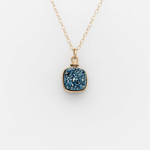 Sm Cushion Ocean Blue Druzy Gold Filled Necklace