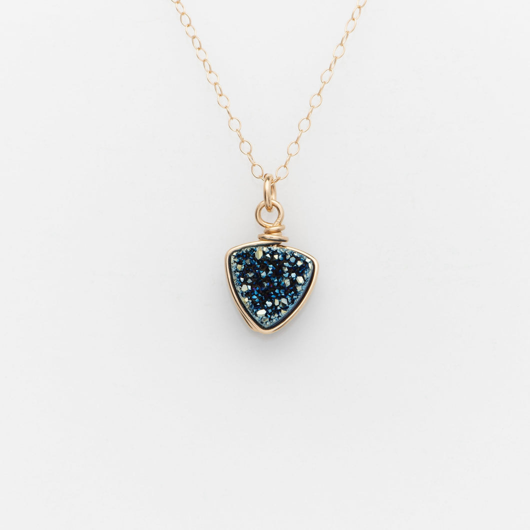 Trillion Ocean Blue Druzy Gold Filled Necklace