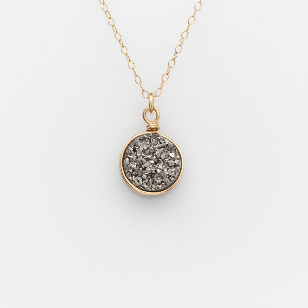 Round Titanium Druzy Gold Filled Necklace