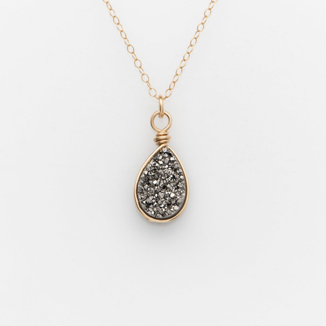 Pear Titanium Druzy Gold Filled Necklace