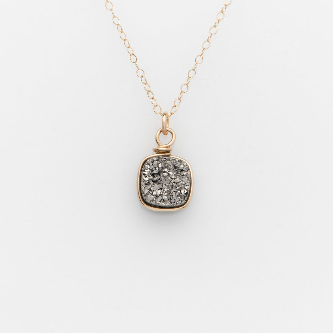 Sm Cushion Titanium Druzy Gold Filled Necklace