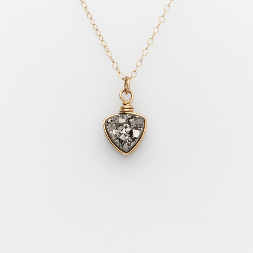 Trillion Titanium Druzy Gold Filled Necklace