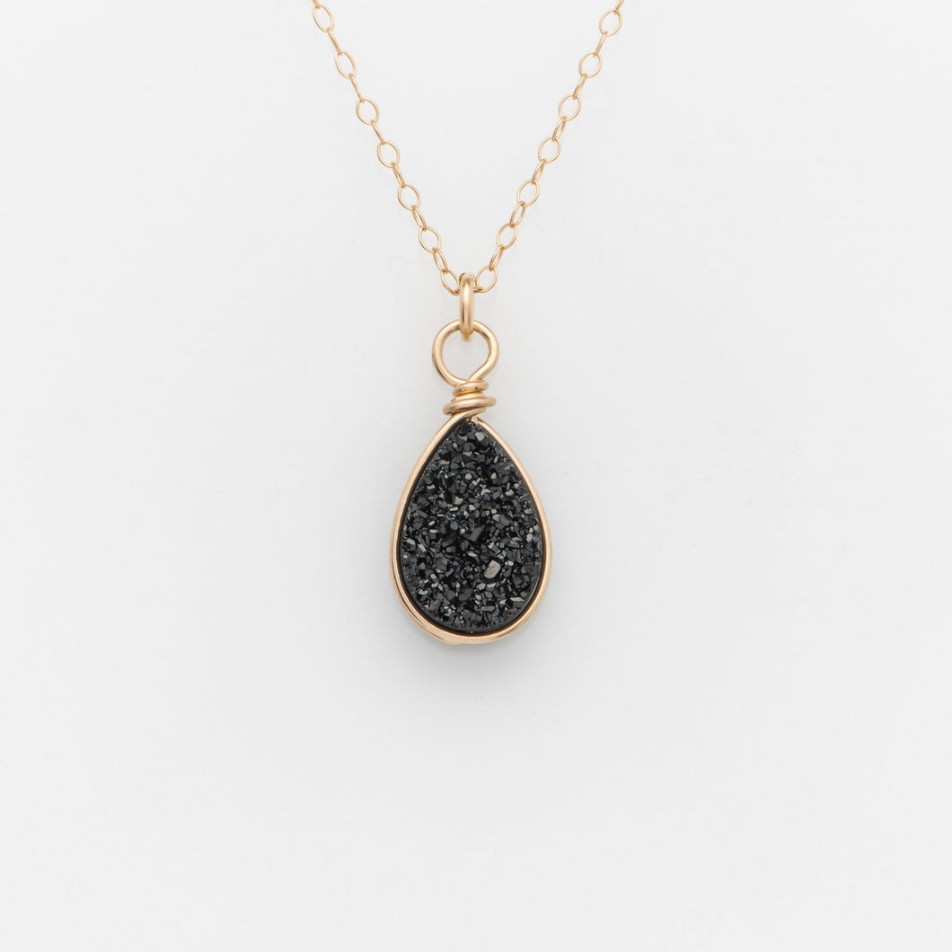 Pear Midnight Black Druzy Gold Filled Necklace