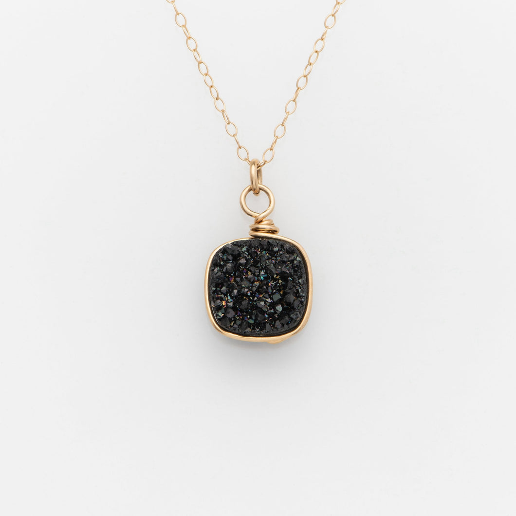 Lg Cushion Midnight Black Druzy Gold Filled Necklace