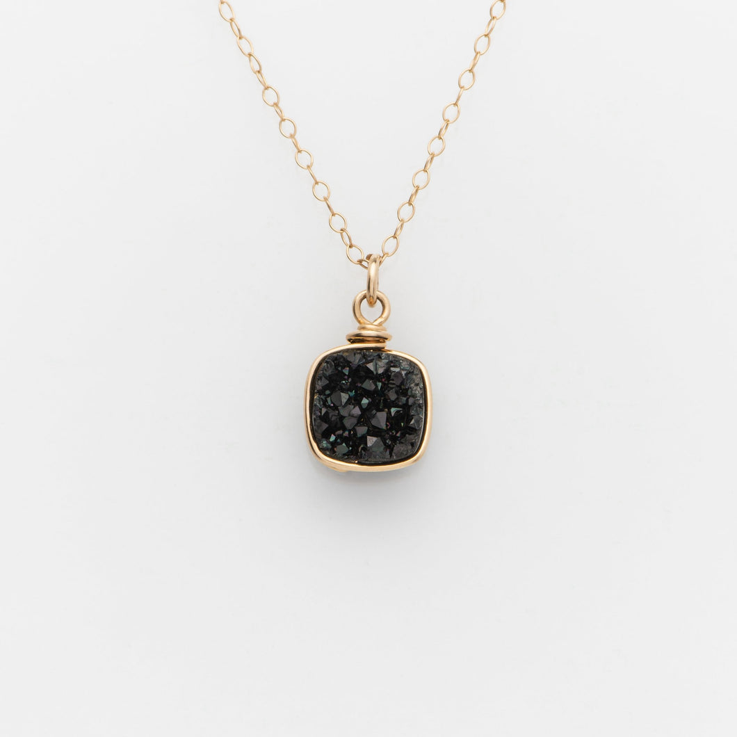Sm Cushion Midnight Black Druzy Gold Filled Necklace