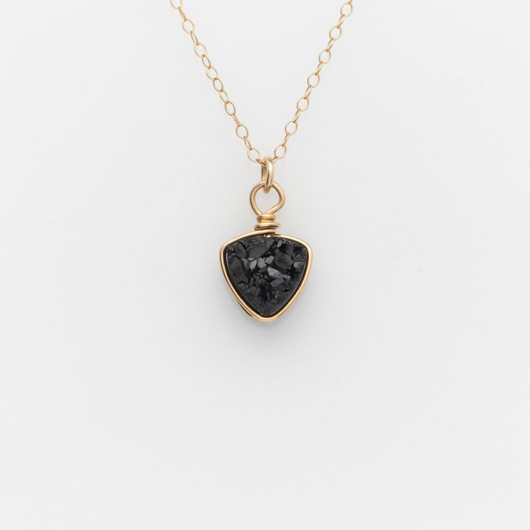 Trillion Midnight Black Druzy Gold Filled Necklace