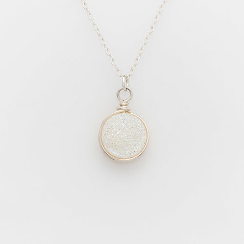 Round Snow White Druzy Sterling Silver Necklace