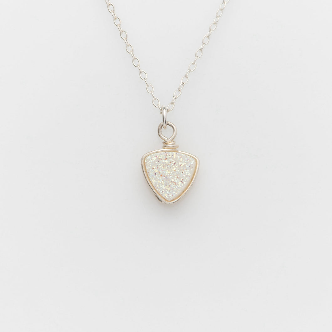 Trillion Snow White Druzy Sterling Silver Necklace