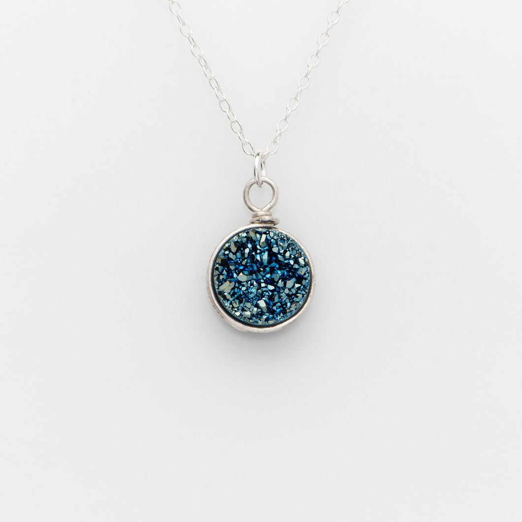 Round Ocean Blue Druzy Silver Filled Necklace