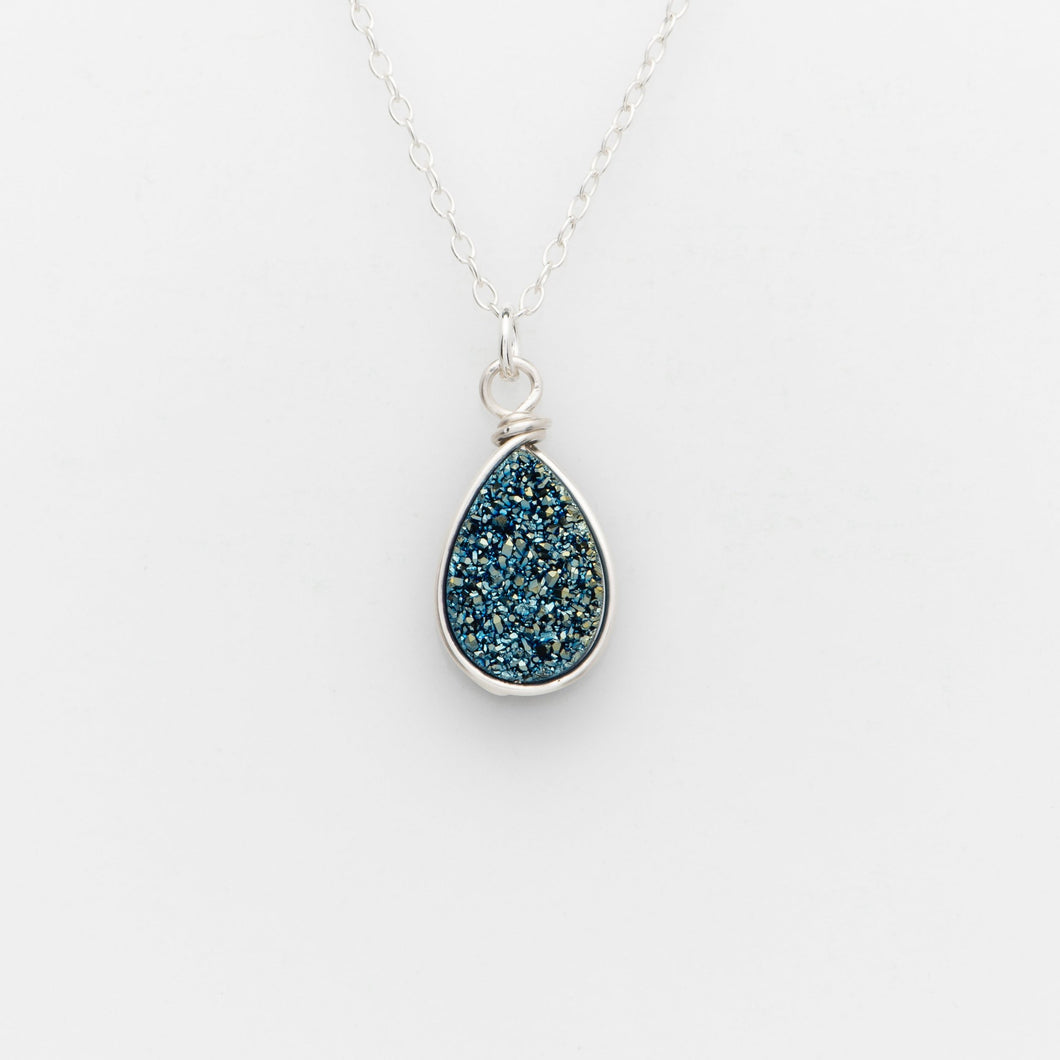 Pear Ocean Blue Druzy Silver Filled Necklace