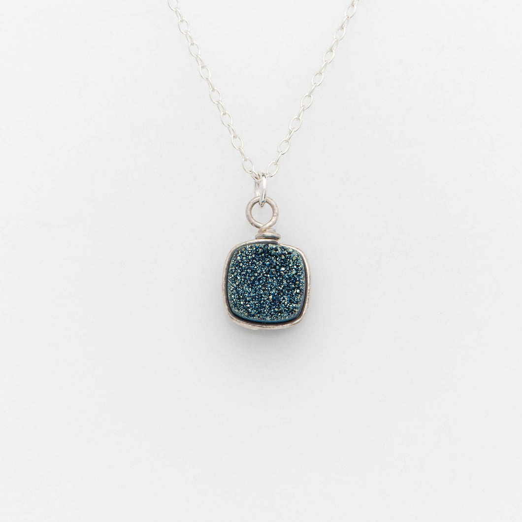 Sm Cushion Ocean Blue Druzy Silver Filled Necklace