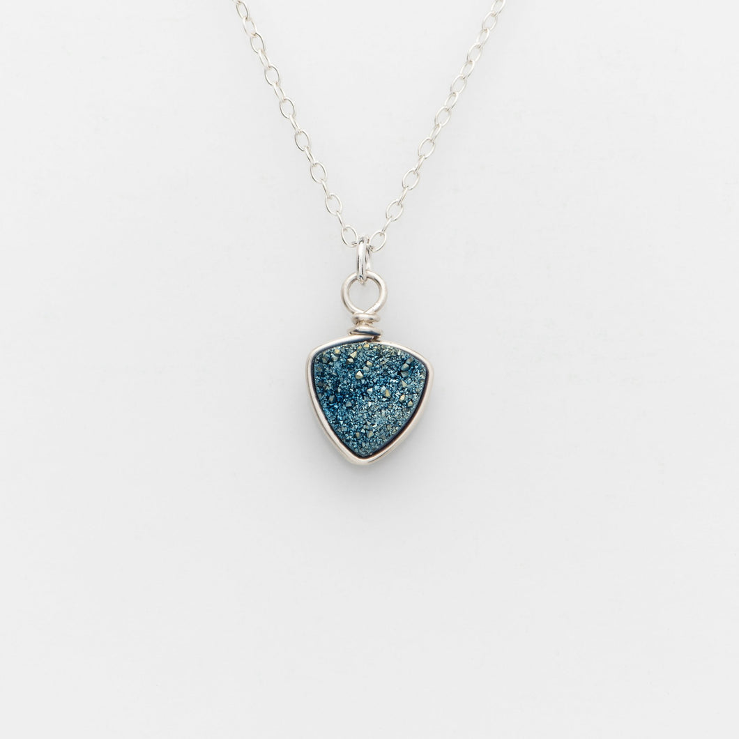 Trillion Ocean Blue Druzy Silver Filled Necklace